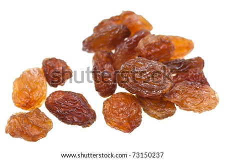 Isolated dried raisins with white background. - stock photo