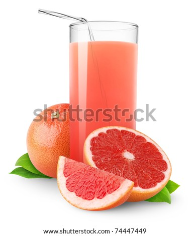Isolated drink. Glass of juice and cut pink grapefruit isolated on white background