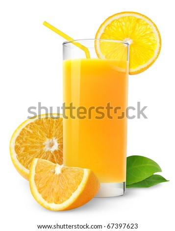 Isolated drink. Glass of orange juice and cut orange fruits isolated on white background