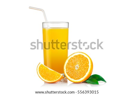 Isolated drink. Slices of orange fruit and glass of juice isolated on white with clipping path.