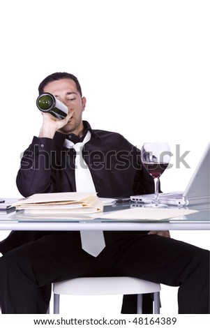 Isolated Drunk Businessman At His Desk Working And Drinking Wine - White Background - stock photo