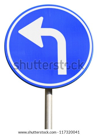 isolated dutch blue road sign with arrow turn left - stock photo