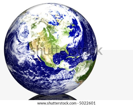Isolated Earth on Reflective Surface USA - stock photo