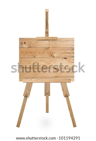 Isolated easel with empty canvas - stock photo