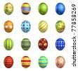 Isolated Easter eggs big pack 3d collection (16 different easter eggs) - stock photo