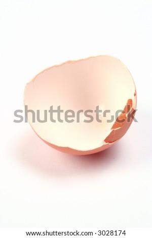 isolated egg shell on white background - stock photo