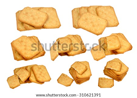 Isolated eight  shots of the different group of biscuits on white - stock photo