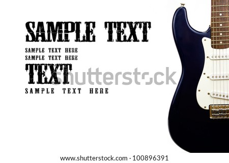 Isolated electric guitar on right with sample text. - stock photo
