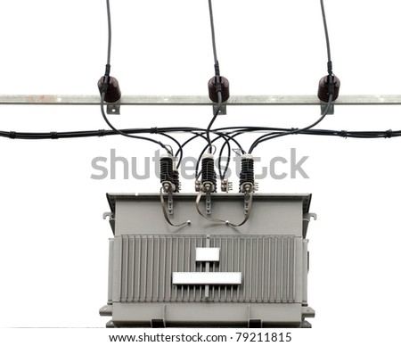 isolated electric transformer on white background - stock photo