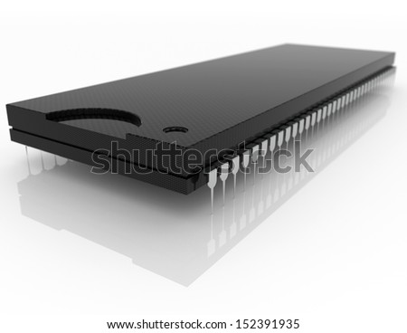 Isolated electronic microchip - stock photo