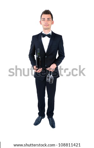 Isolated elegant man with wine