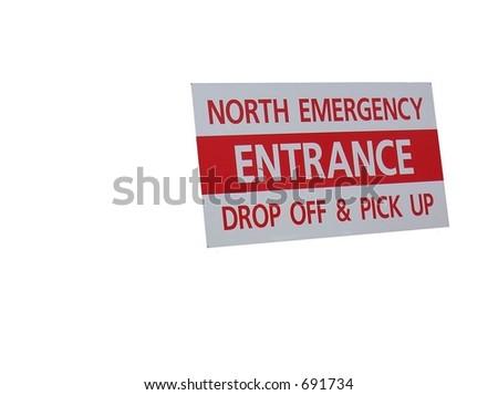 Isolated Emergency entrance sign on white background - stock photo