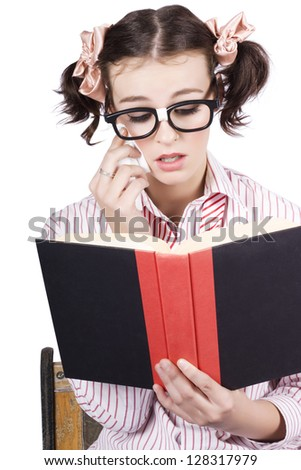 Isolated Emotional Woman Crying With Tissues While Reading A Romantic Novel Over White Background - stock photo