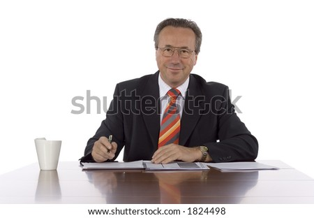 isolated employer at the desk - stock photo