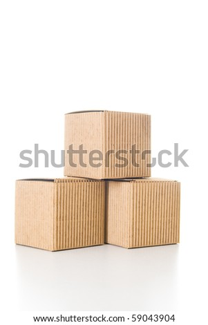 Isolated empty and closed cardboard boxes with reflection.