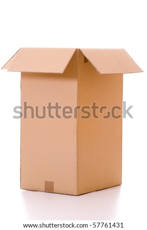 Isolated empty and opened cardboard box with reflection. - stock photo
