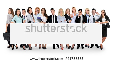 Isolated empty banner with people - stock photo