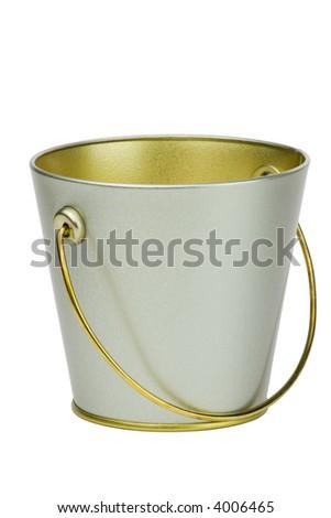 Isolated empty bucket over white - stock photo