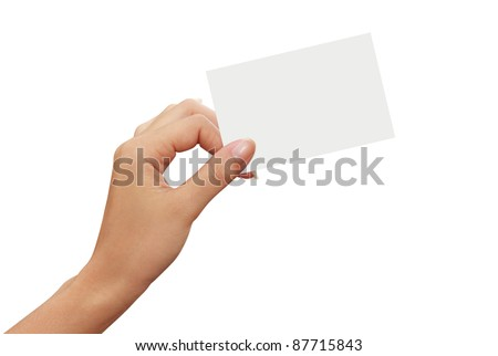 isolated empty business card in a woman hand