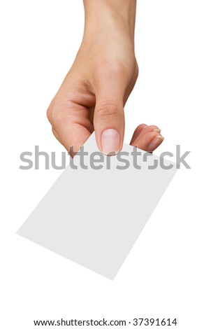 isolated empty business card in a women's hand
