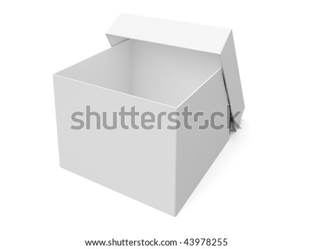 isolated empty opened box - stock photo
