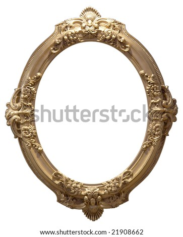 Isolated empty oval golden handmade frame - stock photo