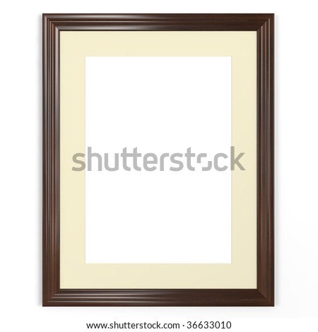 isolated empty picture frame on white background - stock photo