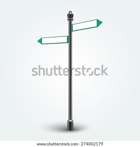 Isolated empty traffic signs on background. Blank Direction Infographic arrows signs for copy space text.  - stock photo