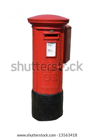 Isolated English Pillar box style letter box