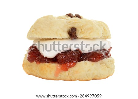 isolated english scone with cream and jam - stock photo