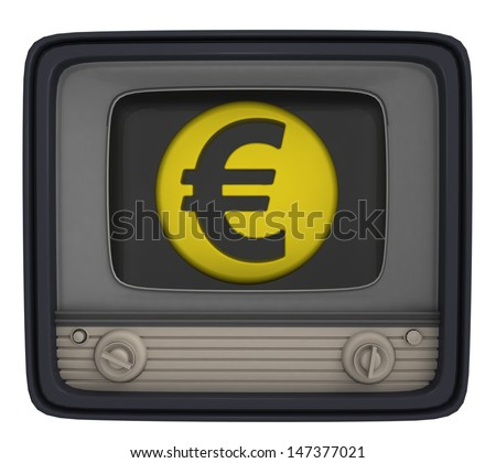 isolated euro union coin in retro television illustration