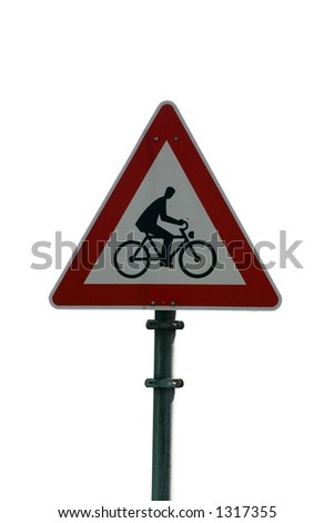 Isolated european bicycle crossing sign