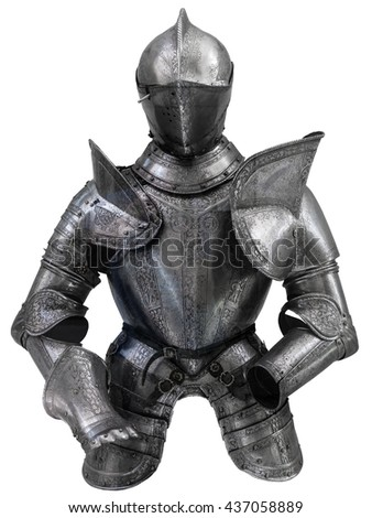 Isolated European Medieval Suit Of Armour (Armor) With Helmet - stock photo