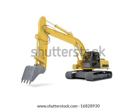 isolated excavator over white - stock photo