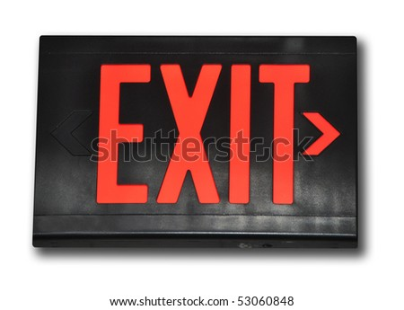 Isolated exit sign on white