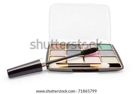 isolated eyeshadow and mascara on a white background