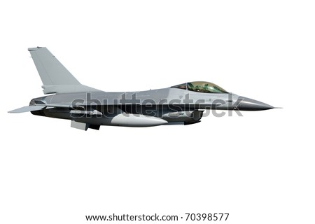 isolated F-16 jet fighter plane - stock photo