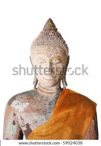 Isolated face of buddha - stock photo