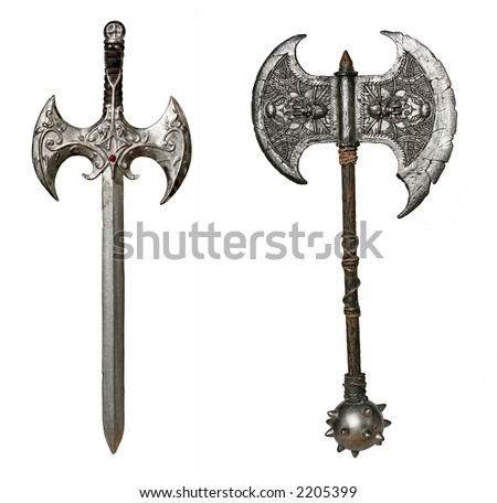 Isolated Fantasy Weapons - Composite of two full size images - sword and battle-axe