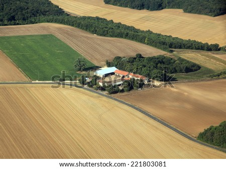 isolated farm in french farmland countryside - stock photo