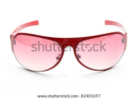 isolated fashion red sunglasses on white background - stock photo