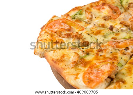 isolated fast food the slice pizza to nominate from big round pizza - stock photo