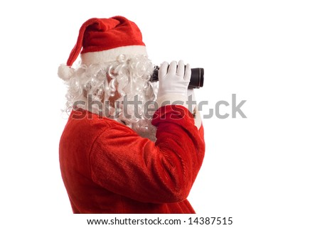 Isolated Father Christmas looking at the future business strategy with binoculars to the right - stock photo