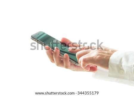 Isolated female businessman hands using cellular phone on white background: Woman typing on mobile telephone technology device for cyber internet ordering making command function on telecommunications - stock photo