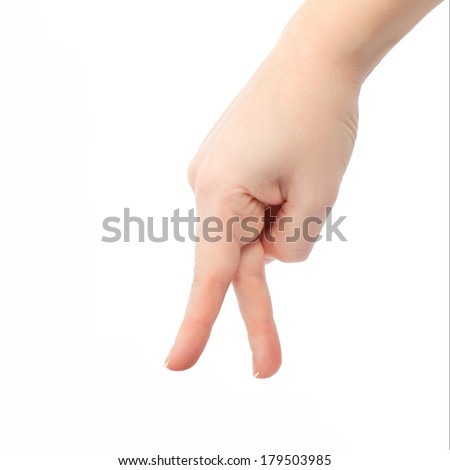 isolated female hand goes to fingers - stock photo