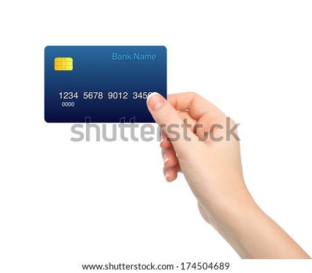 isolated female hand holding a credit card - stock photo