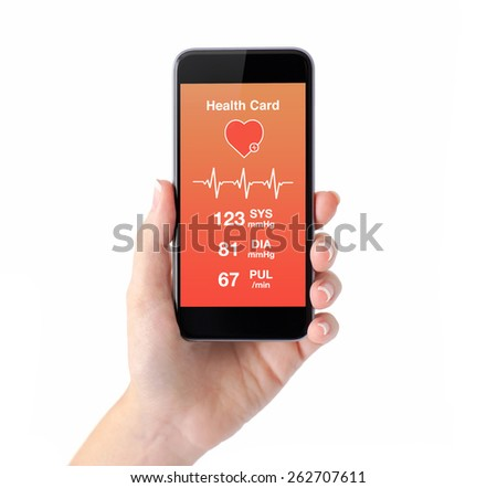isolated female hand holding a phone with app for health card monitoring - stock photo