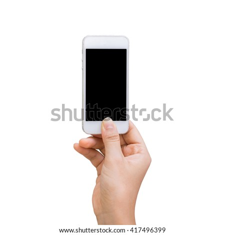 Isolated female hand holding a phone with white screen on white clipping path inside. - stock photo
