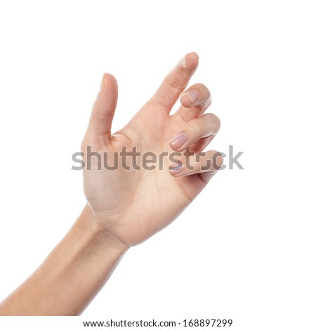 Isolated female hand, holding gesture