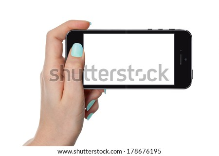 isolated female hand holding smart phone similar to Iphone with isolated screen - stock photo